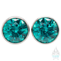 Single Gem BIG BLING Plugs ( Eyelets ) with Brilliant-Cut Gem - Mint