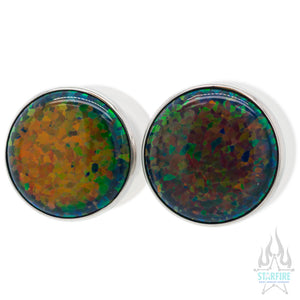 Single Gem Plugs (Eyelets) with Opal Cabochon - Black Opal