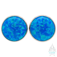 Single Gem Plugs ( Eyelets ) with Opal Cabochon - Dark Blue Opal