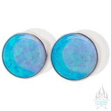 Single Gem Plugs (Eyelets) with Opal Cabochon - Light Blue Opal