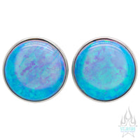 Single Gem Plugs ( Eyelets ) with Opal Cabochon - Light Blue Opal