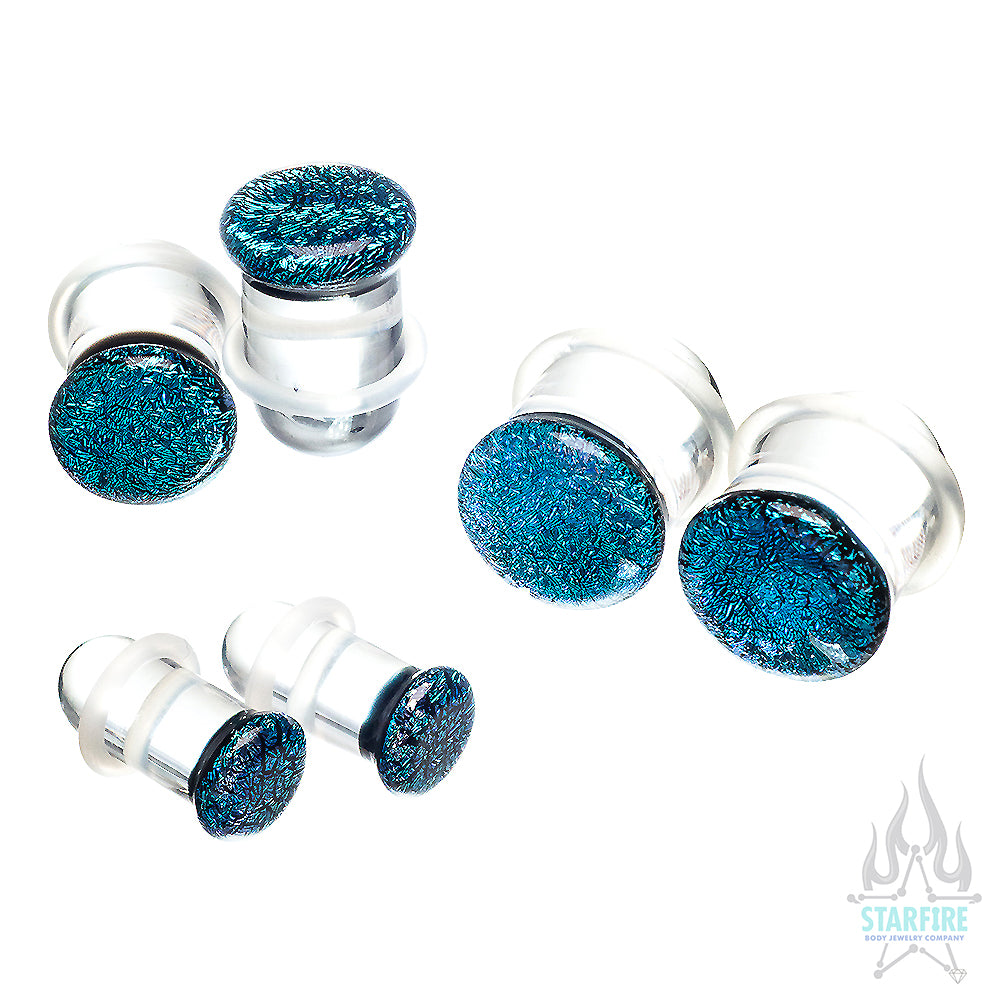 Single-Flared Glass Dichro Plugs - Solid Colors