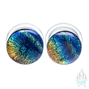 Single-Flared Glass Dichro Plugs - Rainbow