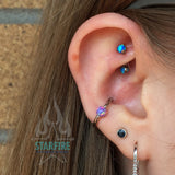 Opal Balls in Prong's Curved Barbell
