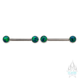 Opal Cabochon Forward Facing Nipple Barbells in Bezel's - pair