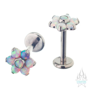 Flower #5 - 2mm/2mm Opals on Flatback