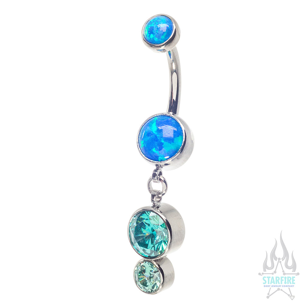 Bezel-Set Opal Navel Curve with Custom CZ Dangle #6 - custom color combos