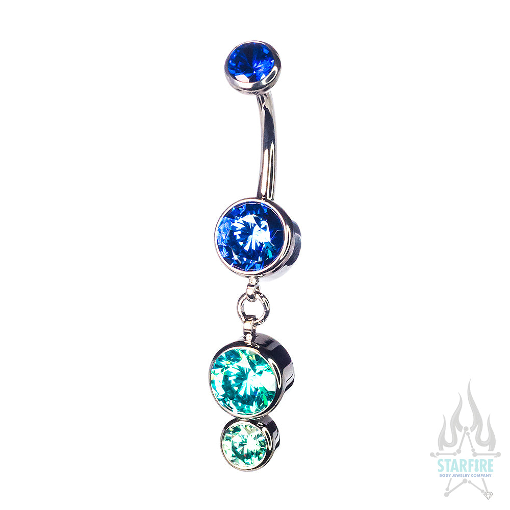Bezel-Set Faceted Gem Navel Curve with Dangle #6 - custom color combos