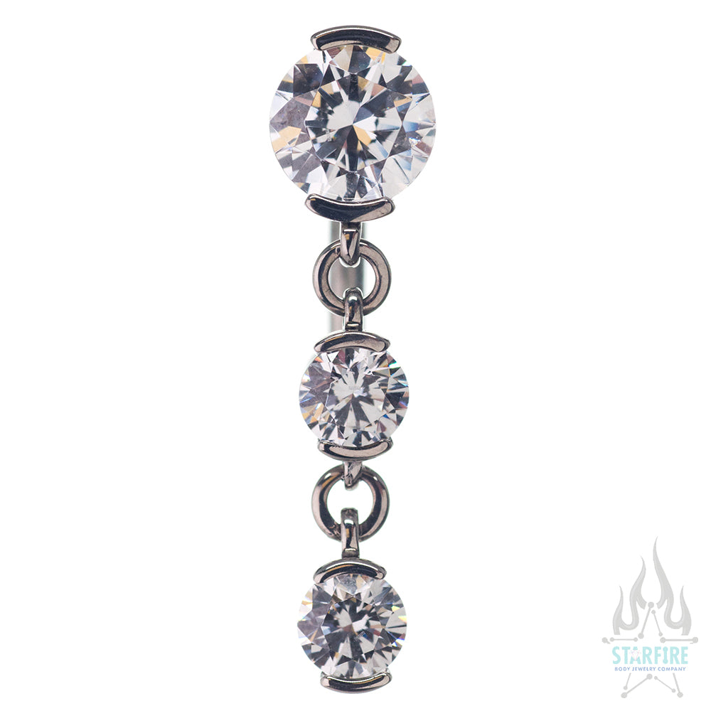 Reverse Dangle 2 Prong-Set Faceted Gem Navel Curve with Dangle #3