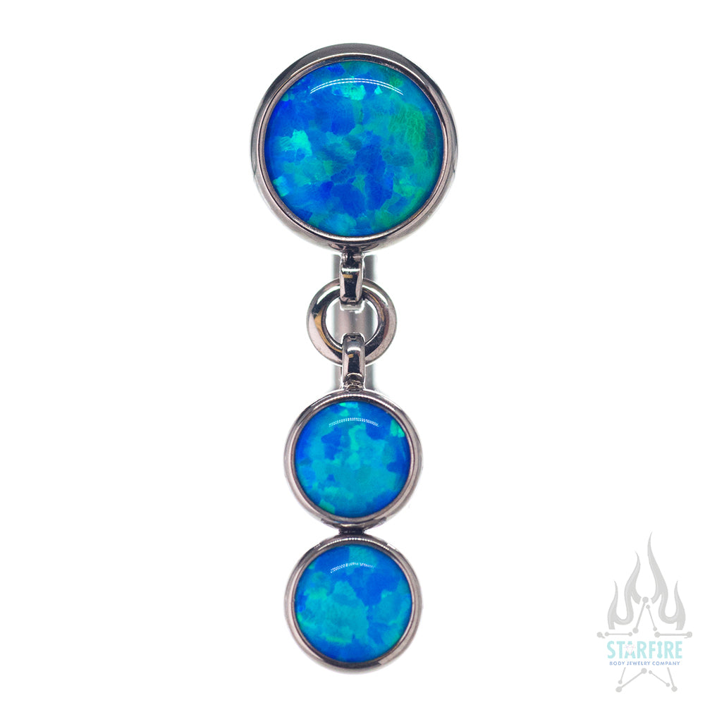 Reverse Dangle Bezel-Set Opal Navel Curve with Dangle #3