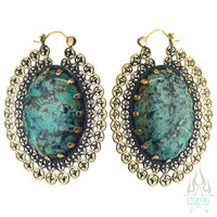 Heirloom Earrings - Brass with Turquoise