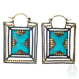 Casket Earrings - Brass with Turquoise
