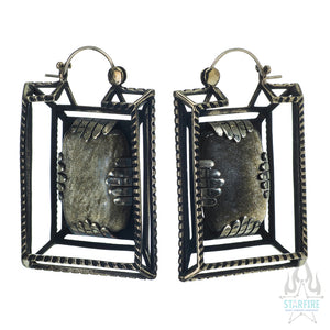 Casket Earrings - Metal with Golden Obsidian