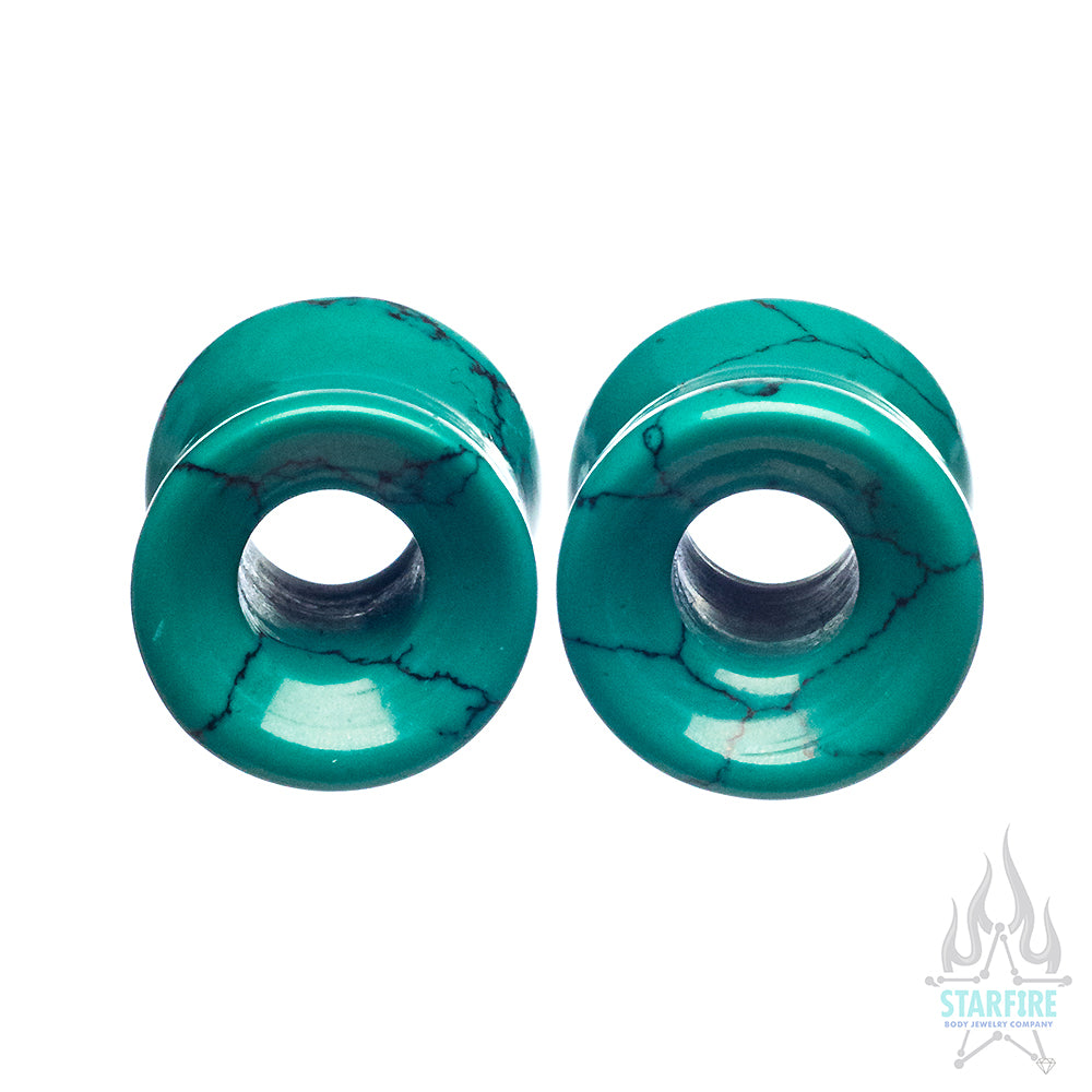 Stone Double Flare Eyelets - Green Spiderweb Turquoise