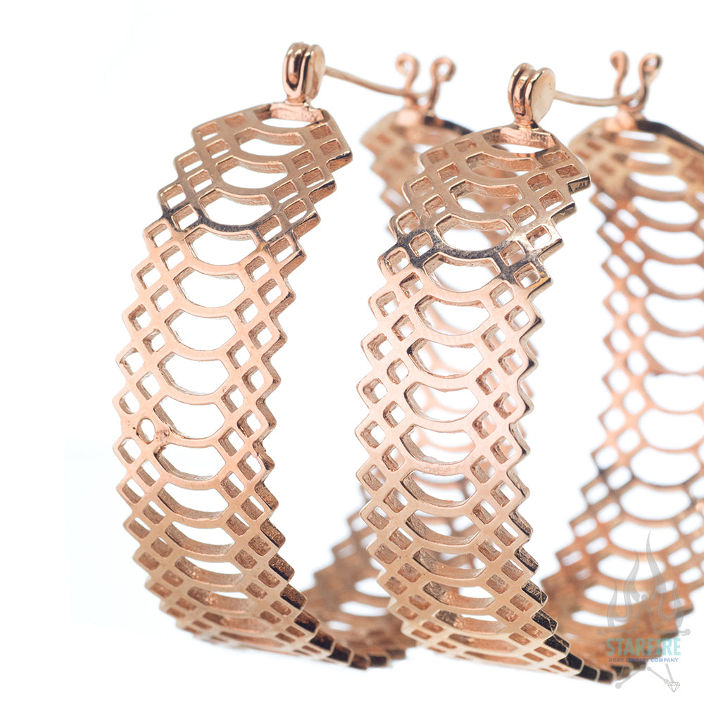 Snakeskin Knocker Hoops - Rose Gold