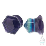 Faceted Hexagon Plugs - Fluorite