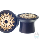 Inlay Afghan Plugs - Ebony with Brass