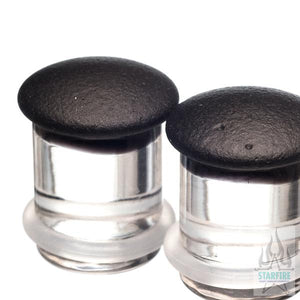 Single-Flared Glass Colorfront Plugs - Flat Black