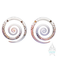 Heart Filigree Glass & Gold Spirals - ONE PAIR ONLY