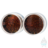 Dichroic Glass Plugs - Red Gold