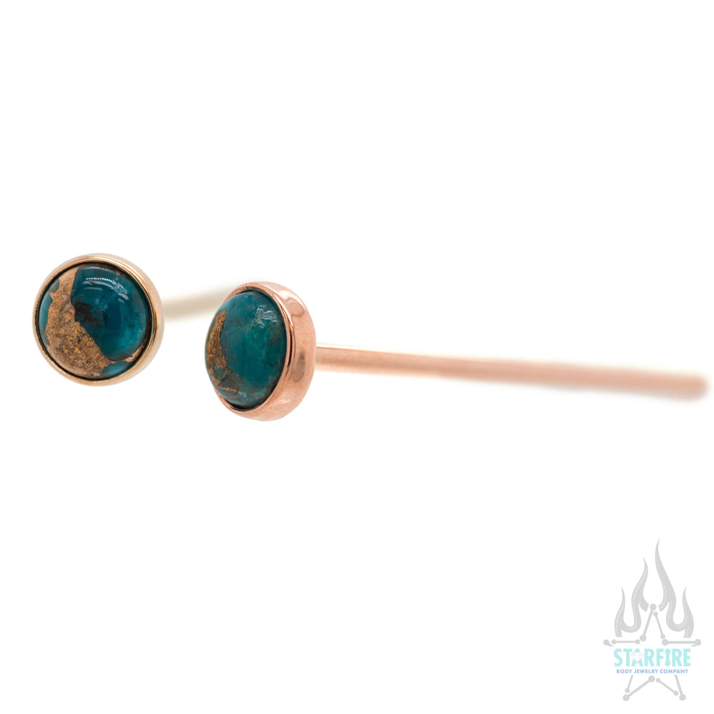 Copper Blue Turquoise in Cup Setting Nostril Screw in Gold