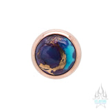 Copper Purple Turquoise in Cup Setting Nostril Screw in Gold