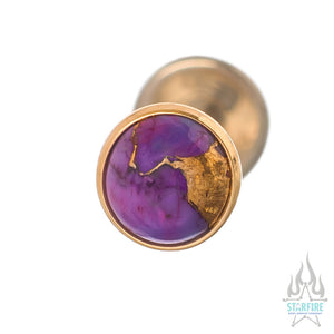 Copper Purple Turquoise in Cup Setting in Gold - on flatback