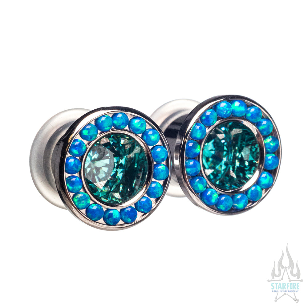 Super Gemmed BIG BLING Plugs (Eyelets) with Mint Green CZ & Blue Opals - custom color combos