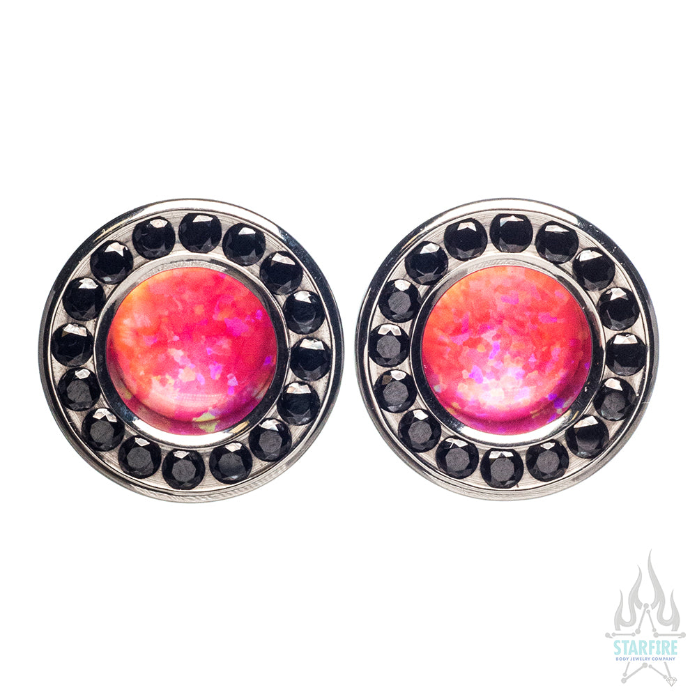 Super Gemmed BIG BLING Plugs (Eyelets) with Hot Pink Opal & Black CZ - custom color combos
