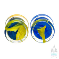 Glass Power Plugs - Blue Yellow