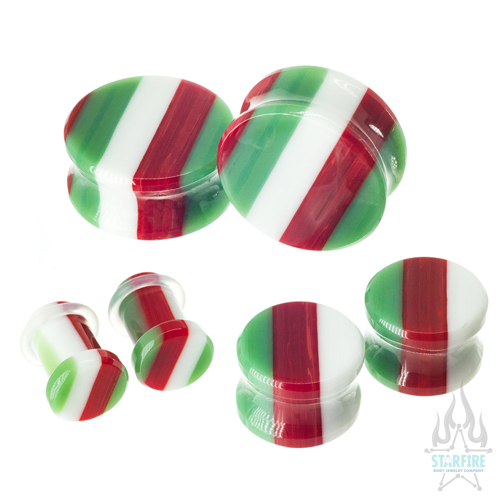 Glass Linear Plugs - CHRISTMAS: Green, Red & White