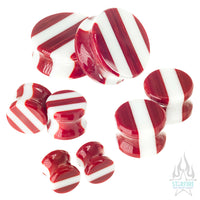 Glass Linear Plugs - CHRISTMAS: Red & White