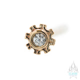 """Firenze"" Nostril Screw in Gold with White CZ"
