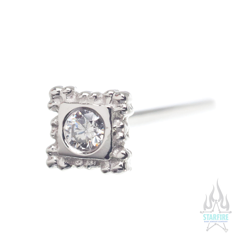 Flourish Illusion Nostril Screw in Gold with White CZ