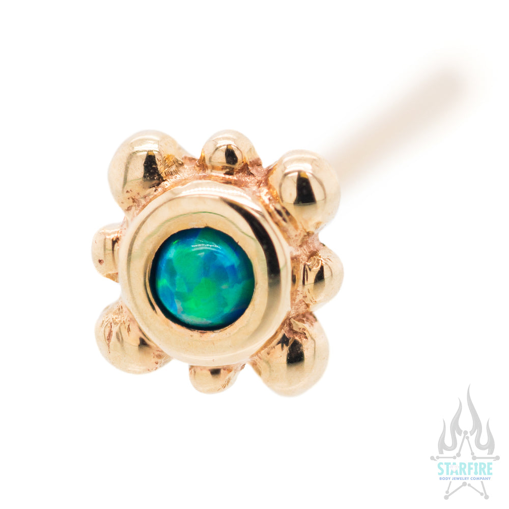 Bezel with 8 Beads Nostril Screw in Gold with Teal Opal