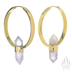 Mini Alchemy Earrings in Brass + Amethyst