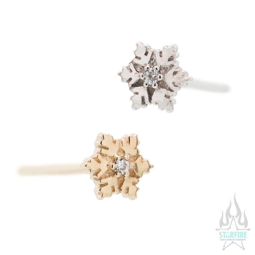 Snowflake Nostril Screw in Gold with White CZ