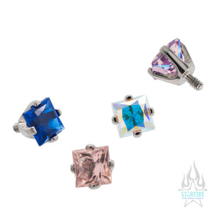 3mm Prong-Set Square Princess Star-Cut Faceted Gem Separate Threaded End