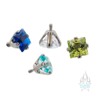 4mm Prong-Set Square Princess Star-Cut Faceted Gem Separate Threaded End
