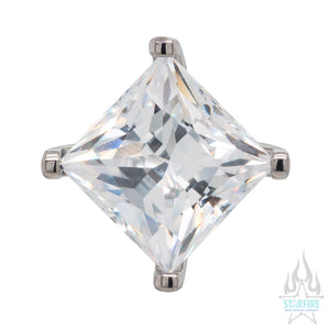 6mm Prong-Set Square Princess Star-Cut Faceted Gem Separate Threaded End