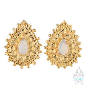 """Aja"" Gold Plugs with White Opal"