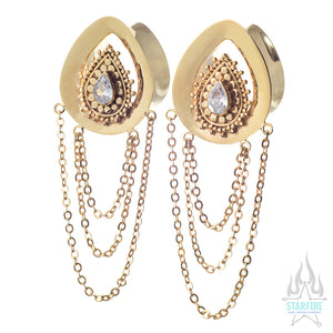 """Deity"" Teardrop Plugs with Dangle in Gold with White CZ"