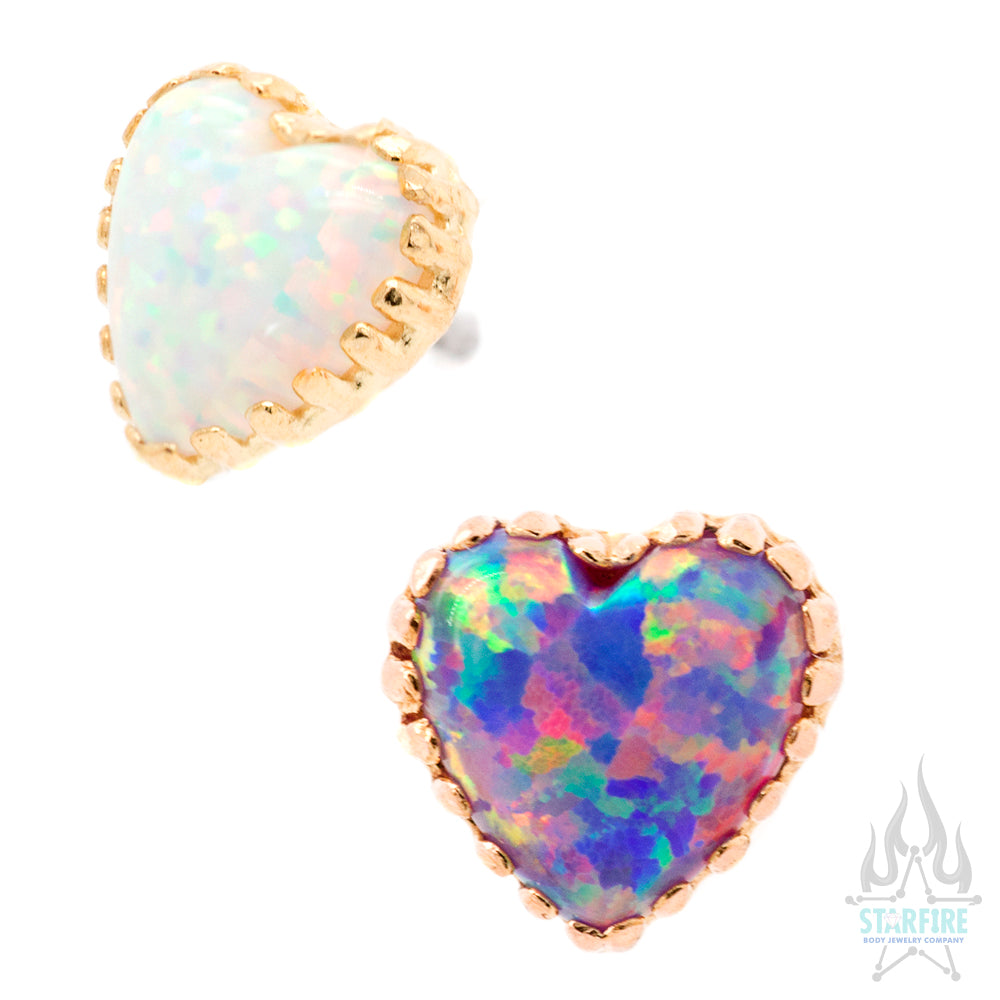 threadless: Cabochon Opal Heart in Gold End