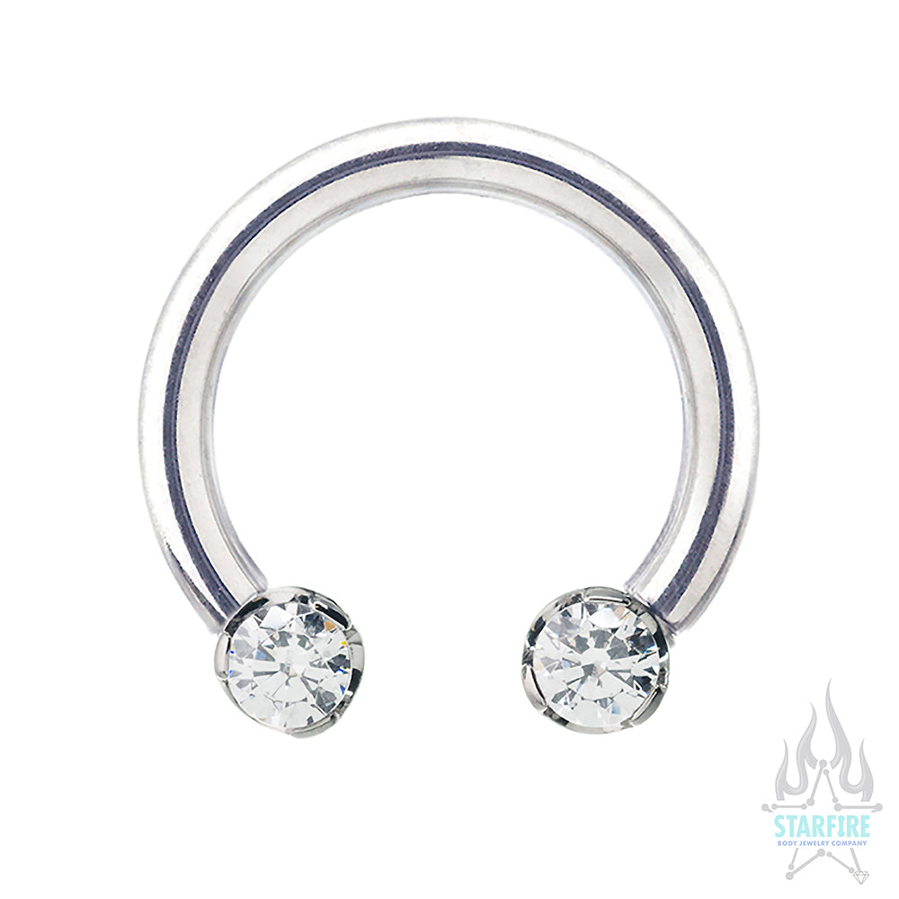 Front Facing Circular Barbell with Brilliant-Cut Gems in Prongs