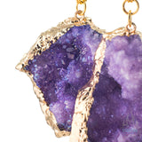Crossovers with Gold Plated Druzy Raw Amethyst