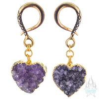 Crossovers with Gold Plated Druzy Raw Amethyst Hearts
