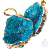Crossovers with Gold Plated Dyed Agate Druzy Geode