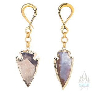Crossovers with Gold Plated Druzy Arrowheads