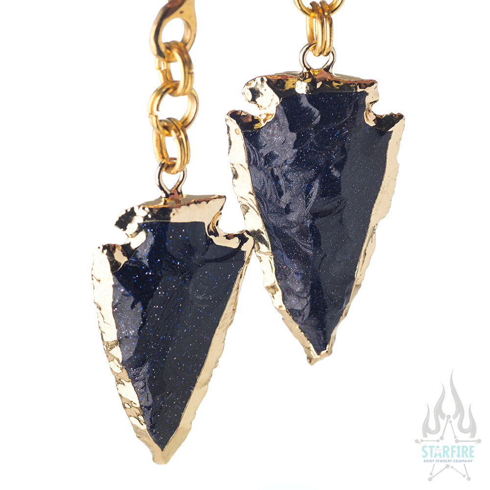 Crossovers with Gold Plated Blue Goldstone Arrowhead Weights