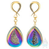 Crossovers with Titanium Coated Druzy Teardrops